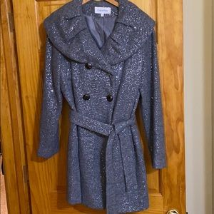 Grey Collared Sequined Coat